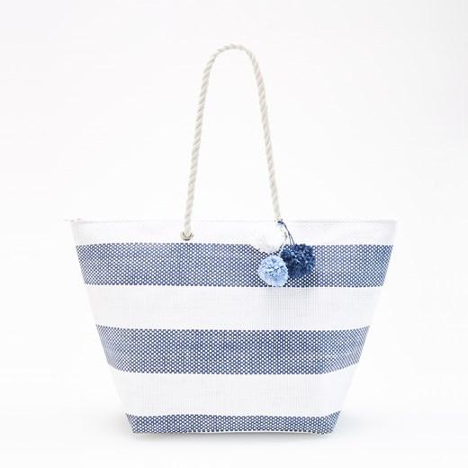 Reserved Duży shopper w paski Niebieski
