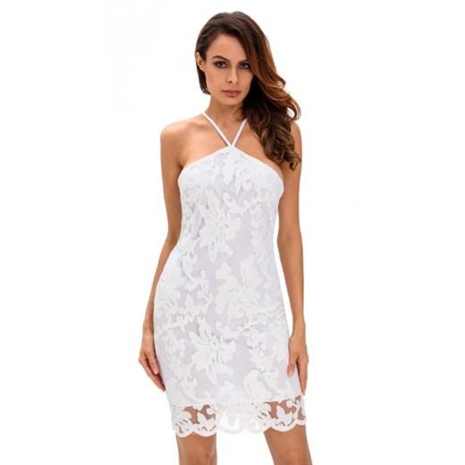 Sukienka Noshame biała na urodziny na ramiączkach w Domodi
