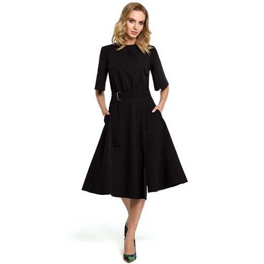 Czarna Szeroka Sukienka z Rękawem do Łokcia