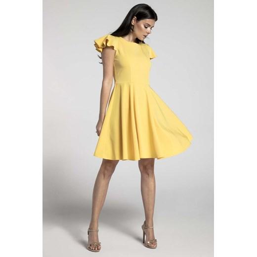 Zolta Rozkloszowana Sukienka Z Rekawkiem Typu Motylek Nommo Molly Pl W Domodi