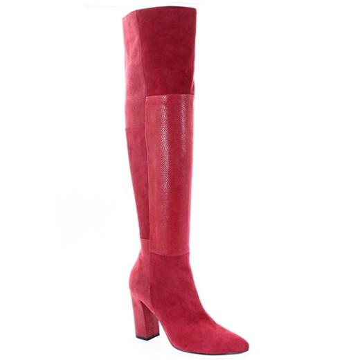 Kozaki damskie Tymoteo czerwone zimowe na słupku
