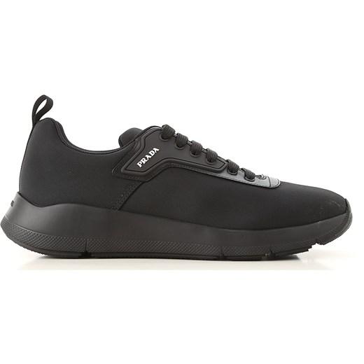 Czarne buty sportowe męskie Prada młodzieżowe ze skóry w Domodi