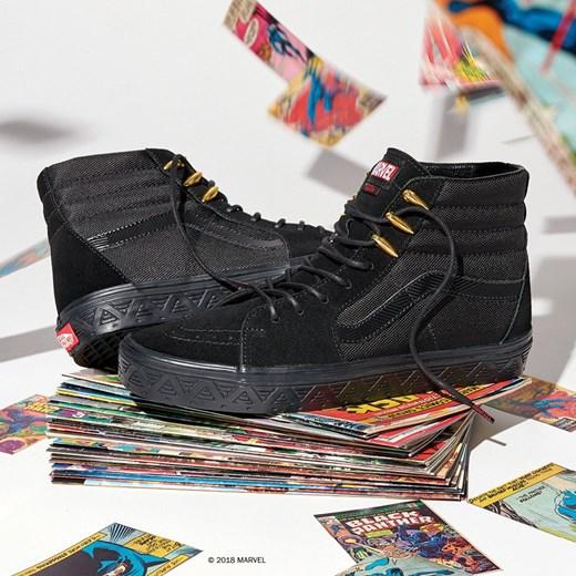 Buty damskie sneakersy Vans Sk8 Hi x Marvel Black Panther