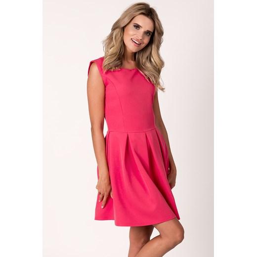 Sukienka Avaro różowa gładka z poliestru rozkloszowana na