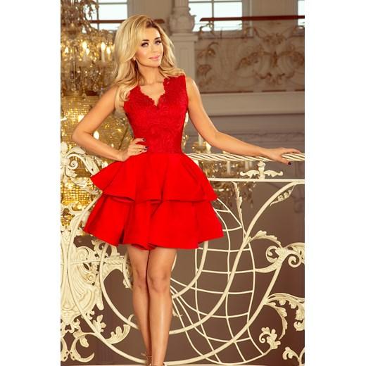 Sukienka czerwona z dekoltem v na wiosnę koronkowa