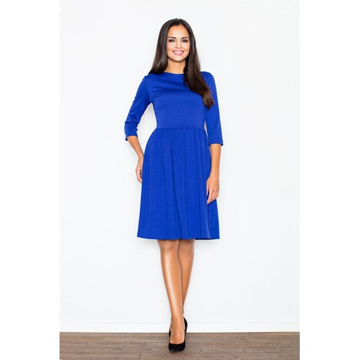 Sukienka odcinana w pasie wiosenna niebieska