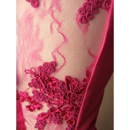 Antal sukienka z dekoltem w serek na bal maxi karnawałowa Odzież Damska MY różowy DBDL