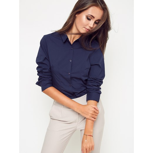 Koszula damska niebieska Yups gładka elegancka w Domodi  vJiE7