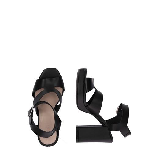 Sandały damskie Zign na platformie skórzane z klamrą na