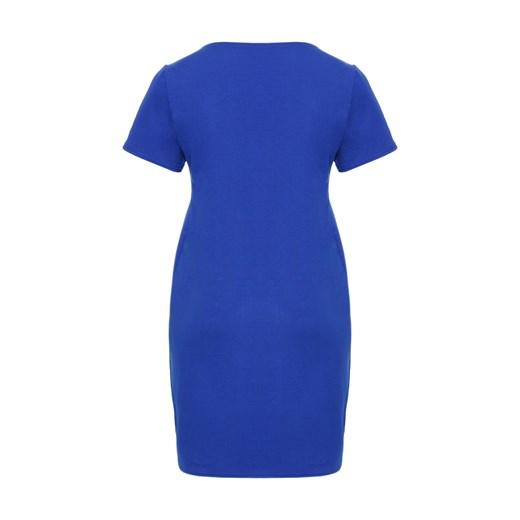 Sukienka dla puszystych midi z krótkim rękawem biznesowa bez wzorów Odzież Damska AV niebieski UBSJ