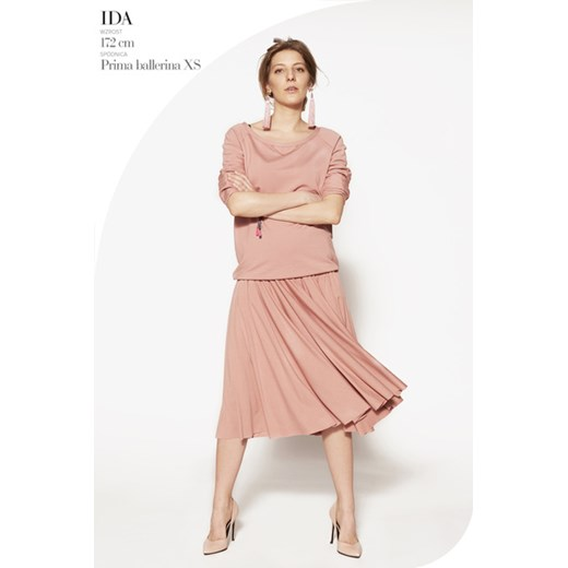 spódnica PRIMA BALLERINA szminkowy róż spódnice midi
