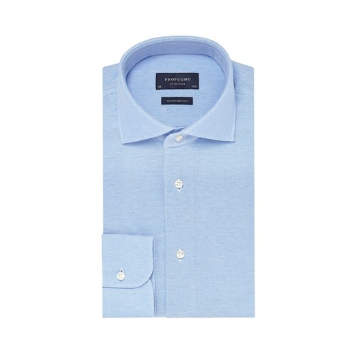 Elegancka błękitna koszula męska z dzianiny (SLIM FIT  iCOi9