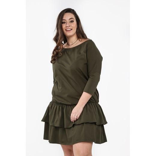 Sukienka Plus Size z falbanami na co dzień khaki B15 okazja fasardi.com Odzież Damska WC zielony SXOZ