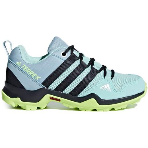 Buty trekkingowe damskie Adidas sznurowane sportowe na płaskiej podeszwie bez wzorów