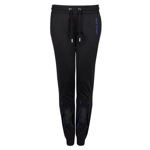 Czarne spodnie damskie Versace Jeans z tkaniny w Domodi