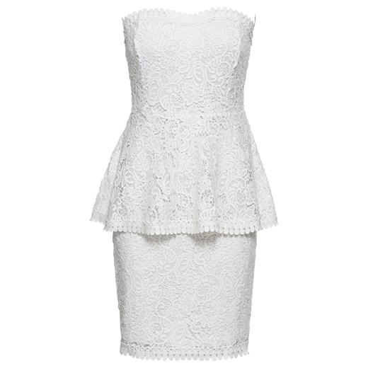 Sukienka Bodyflirt Boutique biała elegancka z koronką baskinka z gorsetowym dekoltem