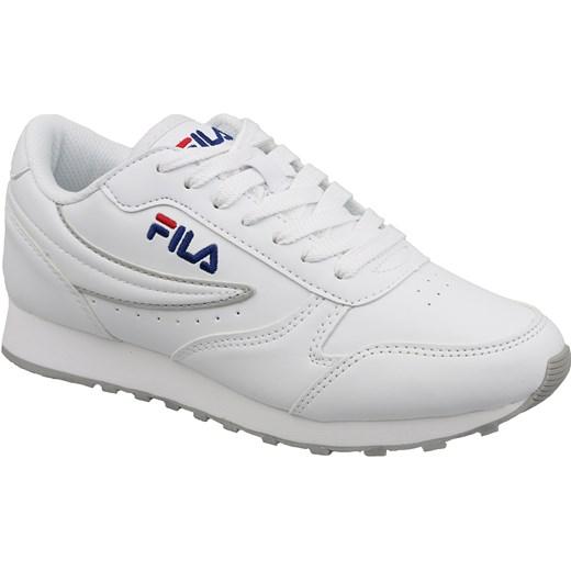 Buty sportowe damskie Fila sneakersy młodzieżowe wiązane płaskie białe bez wzorów skórzane