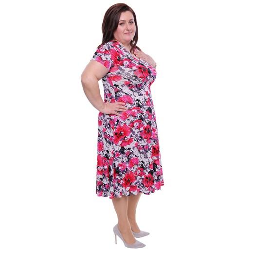 Sukienka wielokolorowa na spacer w kwiaty Odzież Damska HN wielokolorowy YKBD