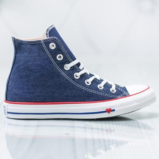 Trampki damskie niebieskie Converse wiązane z wysoką