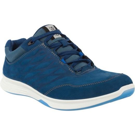 Buty sportowe damskie Ecco na fitness niebieskie bez wzorów sznurowane