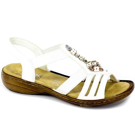 Rieker sandały damskie płaskie bez obcasa gładkie casualowe
