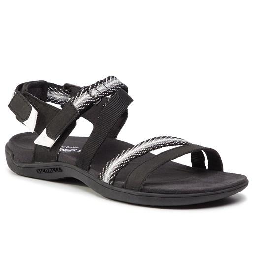 Sandały damskie czarne Merrell na rzepy ze skóry ekologicznej bez obcasa bez wzorów