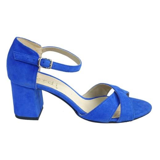 skórzane sandały damskie niebieskie