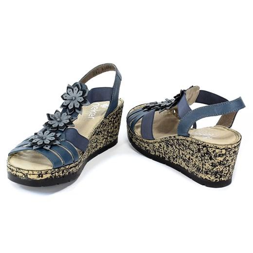 Sandały damskie Rieker w kwiaty z tworzywa sztucznego w Domodi