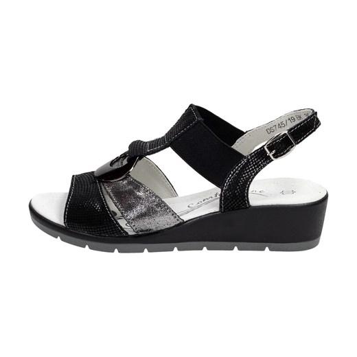 Sandały damskie z niskim obcasem na koturnie z klamrą www