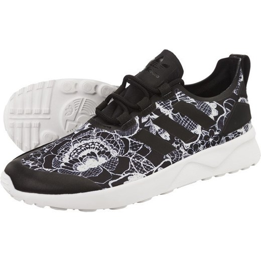Buty sportowe damskie Adidas dla biegaczy zx flux wiązane w kwiaty