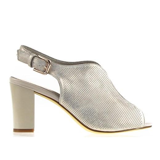 Sandały damskie Sergio Leone beżowe bez wzorów z klamrą z