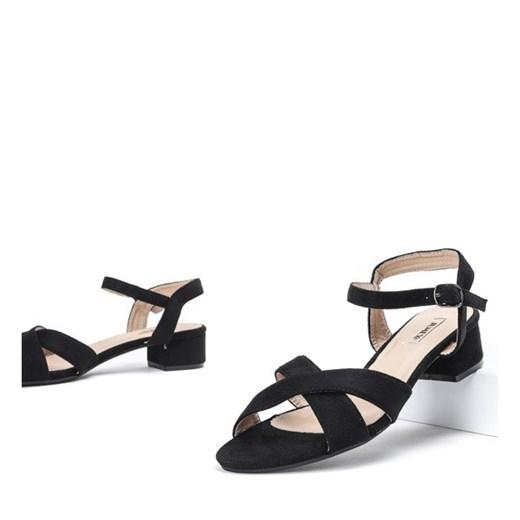 Czarne sandały na niskim słupku Sana Obuwie