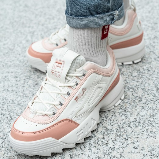 Fila sneakersy damskie białe na platformie sportowe bez