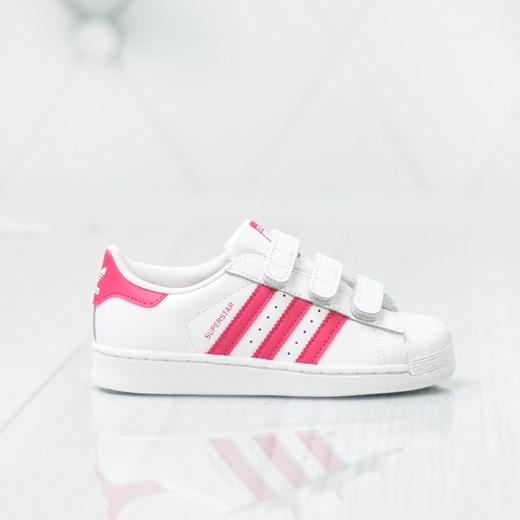 Buty sportowe dziecięce białe Adidas bez wzorów na rzepy w
