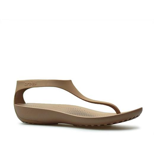 Sandały damskie Crocs bez zapięcia bez wzorów brązowe
