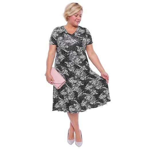 Sukienka midi na spacer dla puszystych na wiosnę Odzież Damska SU wielokolorowy XGBM