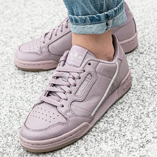 Buty sportowe Adidas ze skóry z płaską podeszwą sznurowane