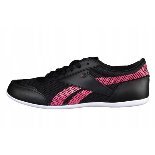 Buty sportowe damskie Reebok sznurowane gładkie czarne płaskie