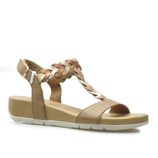 Sandały damskie Tamaris casualowe bez wzorów czarne skórzane