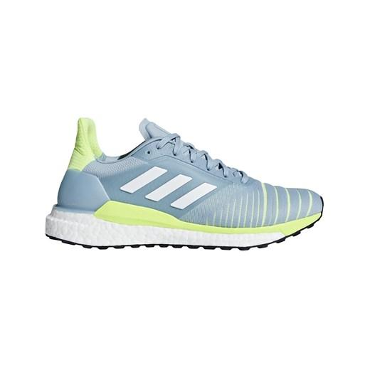 Buty sportowe damskie Adidas do biegania niebieskie sznurowane gładkie