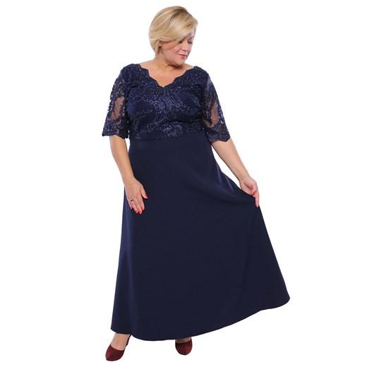 Sukienka dla puszystych maxi na bal z długim rękawem w Domodi