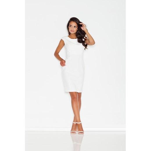 Sukienka Figl biała prosta elegancka z okrągłym dekoltem w
