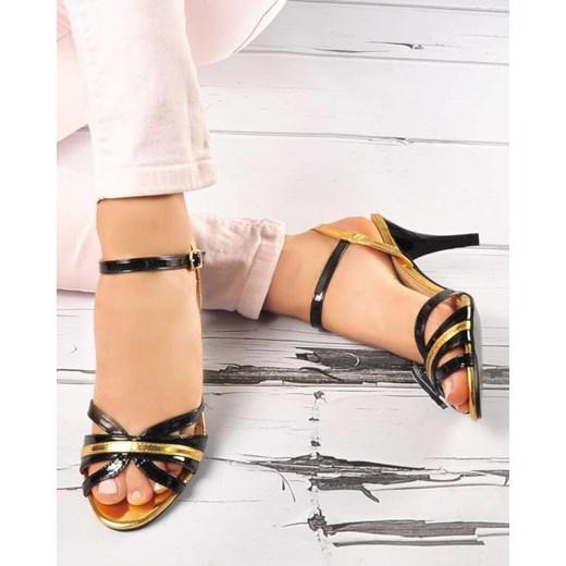 Sandały damskie Elegance eleganckie wielokolorowe na obcasie
