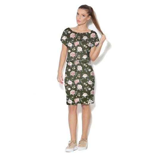 Sukienka w kwiaty mini do pracy