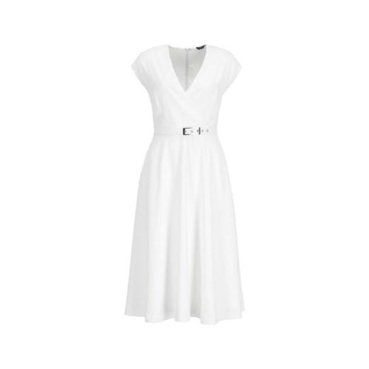 Sukienka Marciano Guess kopertowa biała gładka midi w Domodi