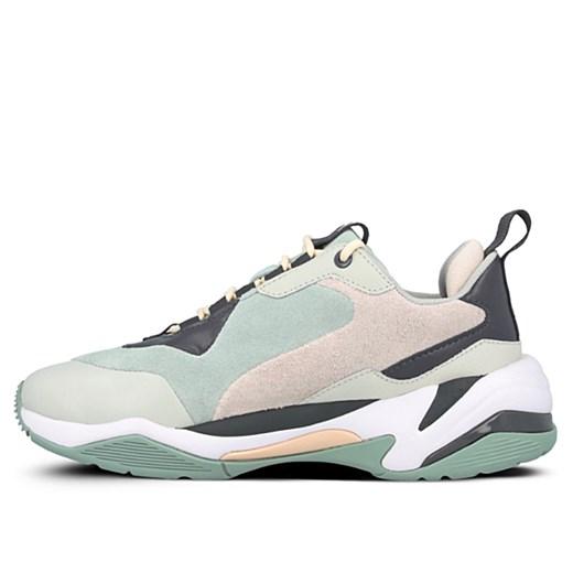 Buty sportowe damskie zielone Puma na wiosnę skórzane gładkie
