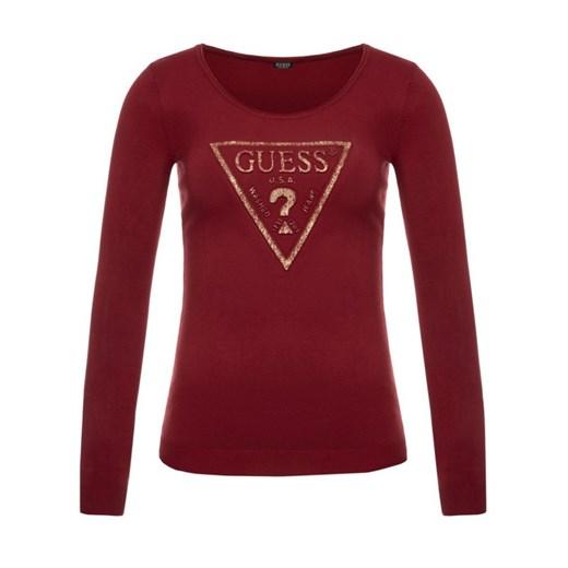 Guess sweter damski czerwony z okrągłym dekoltem bez wzorów Odzież Damska TD czerwony IGML
