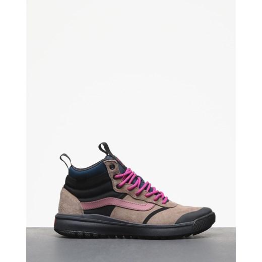 Brązowe buty sportowe męskie Vans na wiosnę z tworzywa