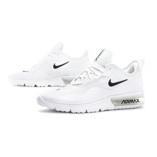Buty sportowe damskie Nike do biegania air max sequent płaskie gładkie białe sznurowane