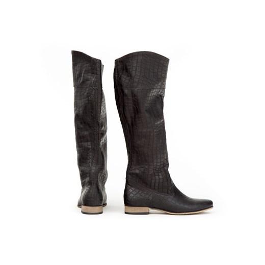 Kozaki damskie Zapato czarne z cholewką przed kolano ze skóry na zamek casual płaskie